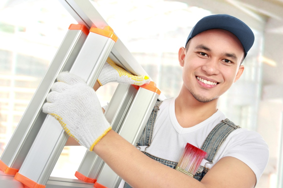 bigstock-Worker-With-Ladder-44446645
